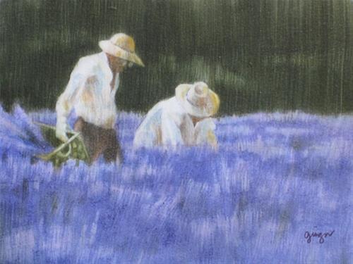 """Lavender Pickers VII"" original fine art by Ginger Pena"