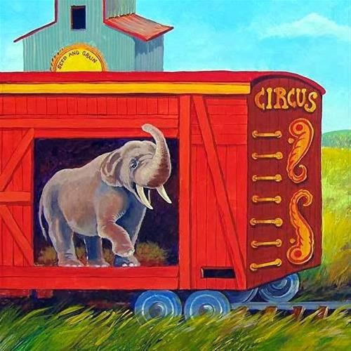 """Elephant Art Painting, Children's Art Illustration ILLUSTRATION FOR TRUNKS AND TAILS  by Colorado"" original fine art by Nancee Busse"