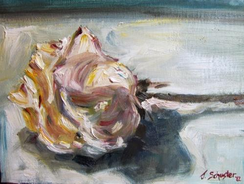 """White Rose, Wilting"" original fine art by Juli Schuster"