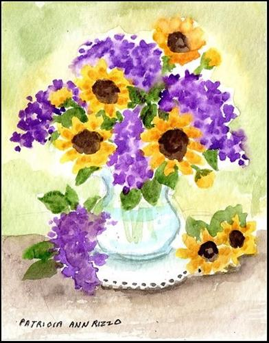 """""""Tiny Lilacs and Sunflowers"""" original fine art by Patricia Ann Rizzo"""