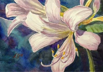 """""""Day 7 - Lavender Crinums - part 1"""" original fine art by Lyn Gill"""