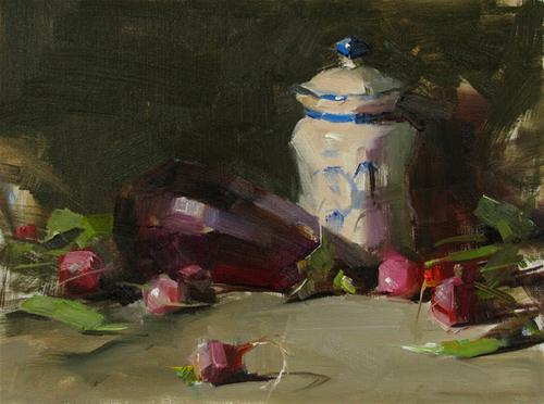 """""""Eggplant and Radishes --- Sold"""" original fine art by Qiang Huang"""