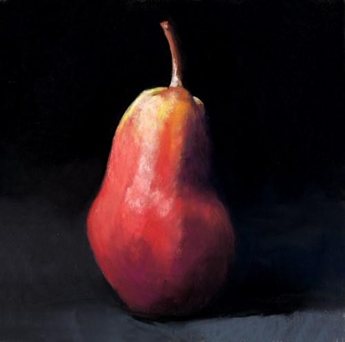 """pear on black"" original fine art by Ria Hills"