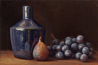"""""""Fig and Concord Grapes with Blue Bottle"""" original fine art by Abbey Ryan"""
