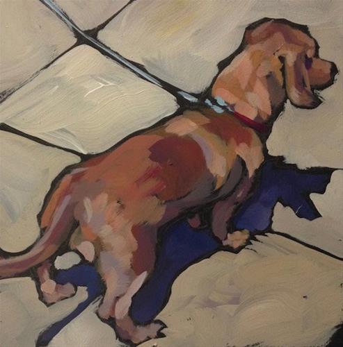 """Leashed Expectations"" original fine art by Kat Corrigan"