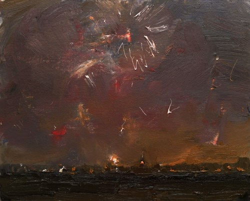 """""""New Year's Eve – Painting Fireworks at 7.30 PM"""" original fine art by Roos Schuring"""