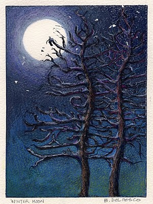"""Linocut: Winter Moon, and Daily Painter Nancy Eckels"" original fine art by Belinda Del Pesco"