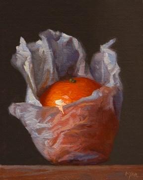 """Wrapped Tangerine  (+ 1889 McCloskey painting)"" original fine art by Abbey Ryan"