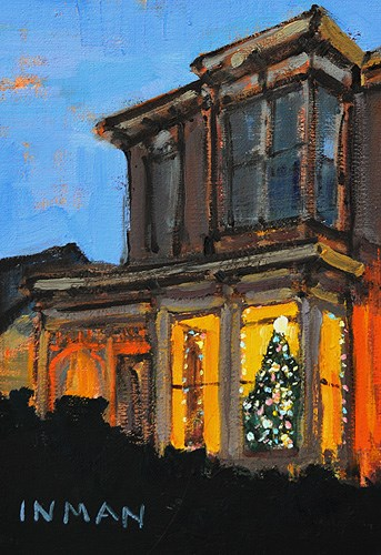 """""""Christmas Lights in Sherman Heights"""" original fine art by Kevin Inman"""