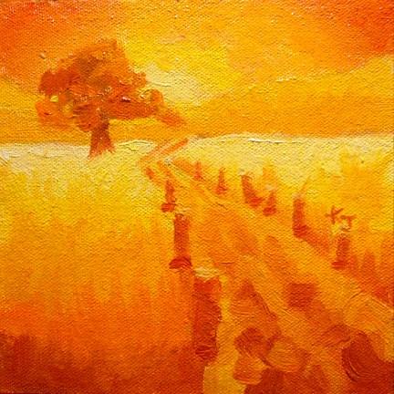 """#25 Lone Oak, Hot Tamale Day"" original fine art by Kathy Johnson"