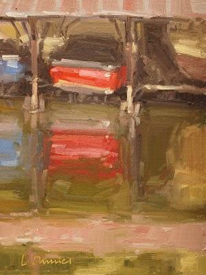 """Red Boat, Blue Boat"" original fine art by Laurel Daniel"