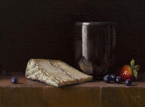 """""""Handmade Cup with Strawberry, Blueberries, and Humboldt Fog"""" original fine art by Abbey Ryan"""
