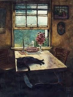 """""""Watercolor: Seating for Four"""" original fine art by Belinda Del Pesco"""