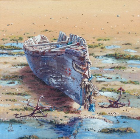 """""""Old Man of the Sea, Oman (price is for framed)"""" original fine art by Alix Baker PCAFAS AUA"""