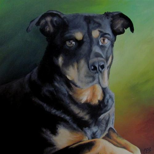 """Custom Pet Portrait: Molson"" original fine art by ~ces~ Christine E. S. Code"