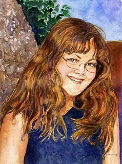 """""""Watercolor: Portrait of CB (& a painting by Christopher Greco)"""" original fine art by Belinda Del Pesco"""