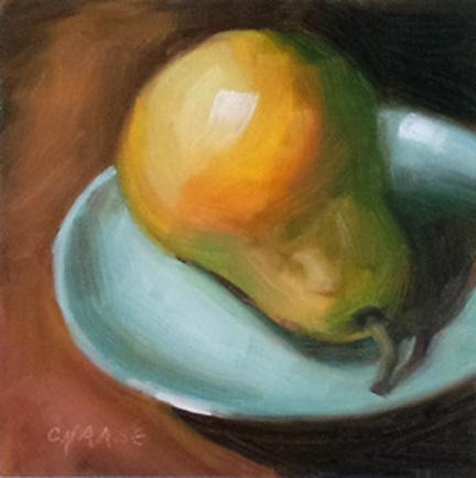"""Pear on Blue Plate"" original fine art by Cindy Haase"