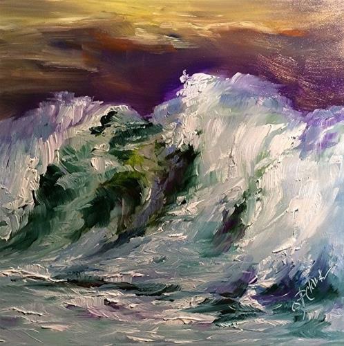 """WAve Study 6, 6 x 6, Oil, Seascape"" original fine art by Donna Pierce-Clark"