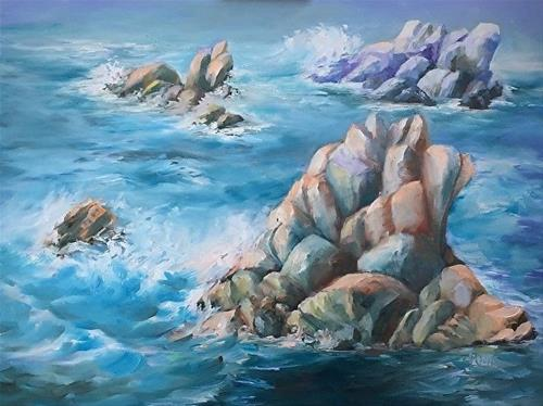 """Guardians of Point Lobo, 18 x 24 Oil, Seascape"" original fine art by Donna Pierce-Clark"