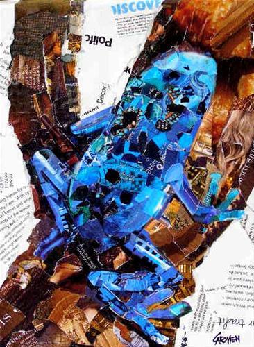 """Blue Frog, 12x9 Collage"" original fine art by Carmen Beecher"