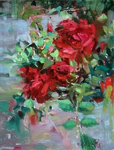 """River Roses"" original fine art by Mary Maxam"