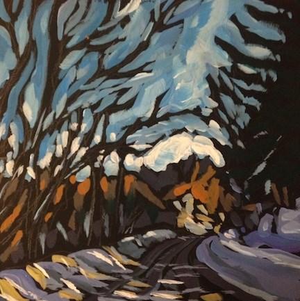 """Cedar Lake Parkway, January"" original fine art by Kat Corrigan"