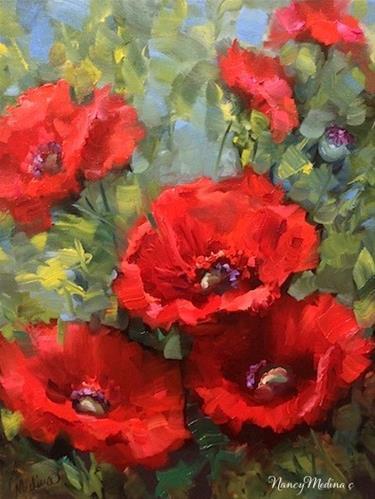 """Cascade Red Poppies by Floral Artist Nancy Medina"" original fine art by Nancy Medina"