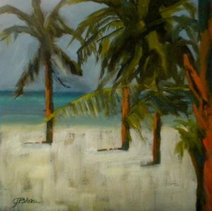 """Follow The Palms"" original fine art by Janet Bludau"