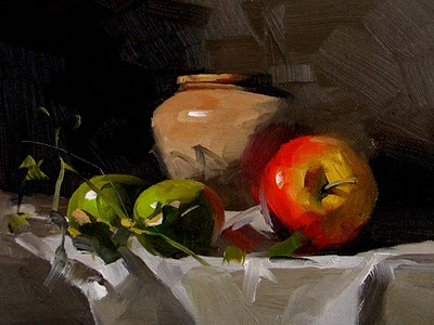 """Watermelon and Apple --- Sold"" original fine art by Qiang Huang"