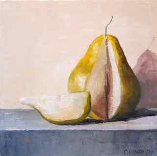 """Golden Pear on Gray II"" original fine art by Christina Dowdy"
