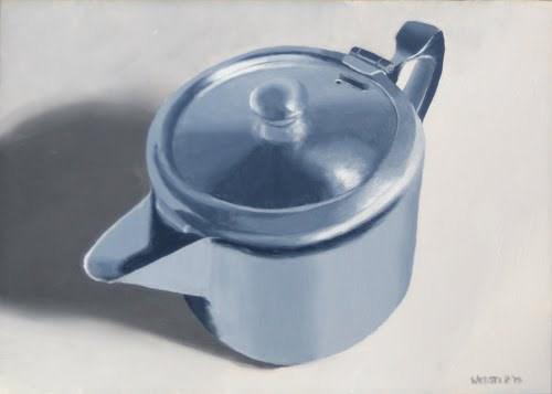"""Mark Webster - Metal Tea Pot Still Life Oil Painting"" original fine art by Mark Webster"