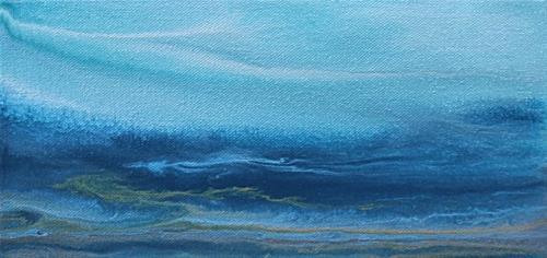 """Contemporary Abstract Seascape Painting,Coastal Art Deep Blue Mini# 1 by International Contemporar"" original fine art by Kimberly Conrad"