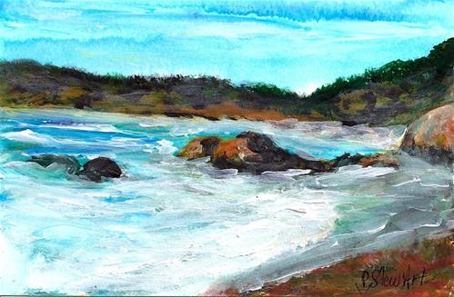 """4x6 Ocean, Rocks and Waves, Acrylic on 140# WC paper, SFA, Original Penny StewArt"" original fine art by Penny Lee StewArt"