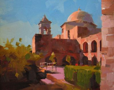 """""""Afternoon at the Mission"""" original fine art by Qiang Huang"""