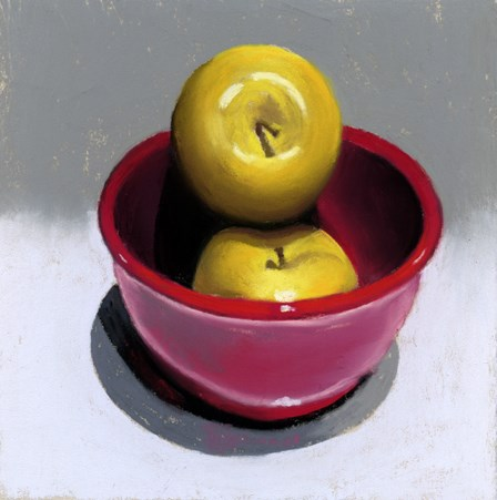 """""""yellow apples in a red bowl painting"""" original fine art by Ria Hills"""