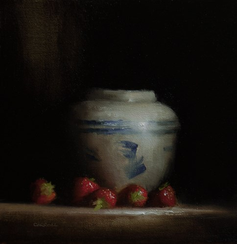"""""""Vase with Strawberries"""" original fine art by Neil Carroll"""