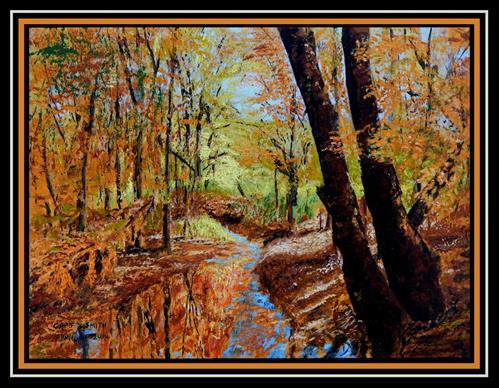 """Creekside in Autumn"" original fine art by Captain B Smith"