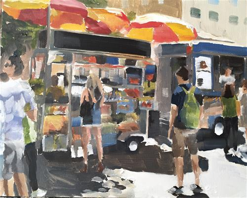 """Hot Dog Stand NYC"" original fine art by James Coates"