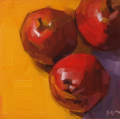 """3 Red Pears --- SOLD"" original fine art by Carol Marine"