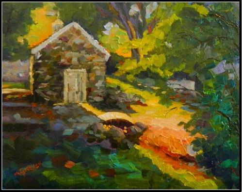 """Springhouse in Shadow, 11x14, oil on linen-, Vixen Hill Farm, paintings of springhouse, Maryanne J"" original fine art by Maryanne Jacobsen"