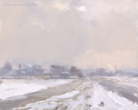 """""""Landscape winter 3 White sun and snow (Sneeuw) (available)"""" original fine art by Roos Schuring"""