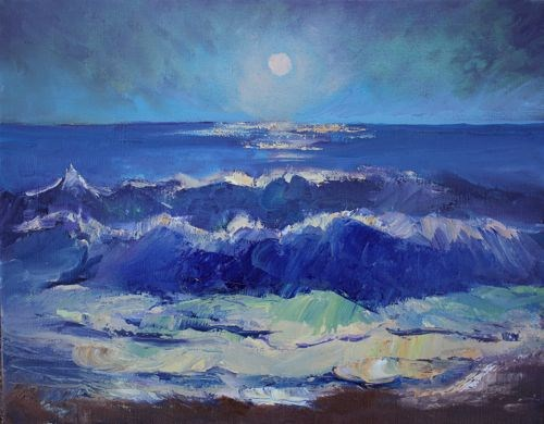 """Moonlit Walk Night Landscape Paintings by Arizona Artist Amy Whitehouse"" original fine art by Amy Whitehouse"