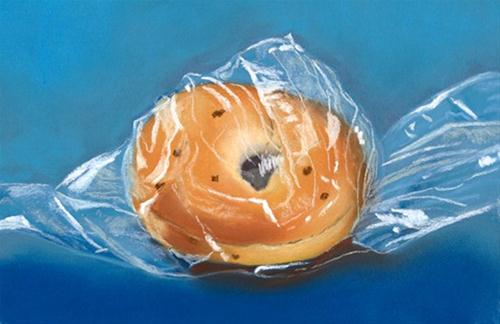 """Onion Bagel"" original fine art by Ria Hills"