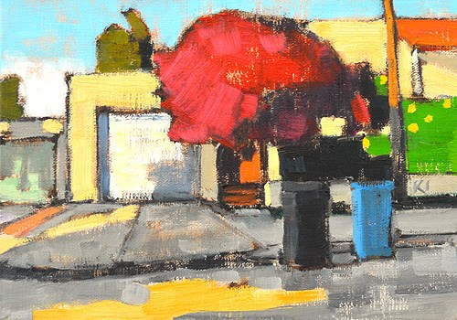 """Bougainvillea on Trash Day"" original fine art by Kevin Inman"