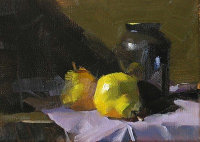 """Pears on Purple Drape --- Sold"" original fine art by Qiang Huang"