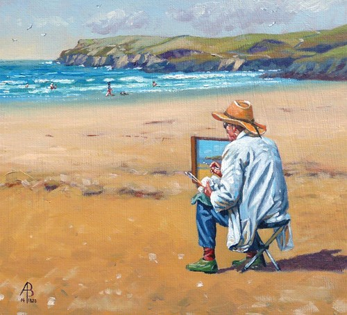 """Shhh!  Artist at work"" original fine art by Alix Baker PCAFAS AUA"