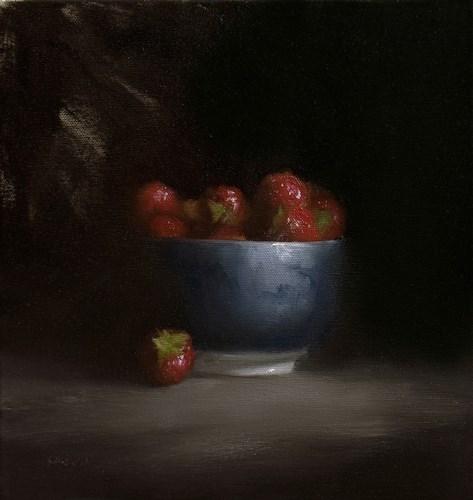 """Bowl of Strawberries"" original fine art by Neil Carroll"