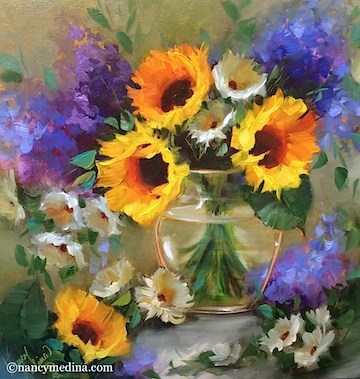 """""""Shining Through Sunflowers and a Tennessee Workshop - Flower Paintings by Nancy Medina"""" original fine art by Nancy Medina"""