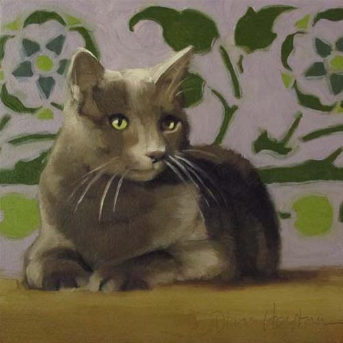 """Prince of Ivy it's a painting of a cat not a human"" original fine art by Diane Hoeptner"