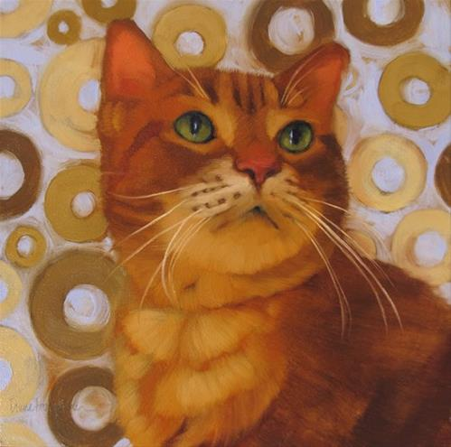 """Saint Sienna painting of orange cat"" original fine art by Diane Hoeptner"